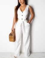 White Waist Belt Button Pocket Jumpsuit Sleeveless For Strolling