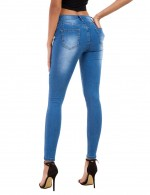 Lovable Plus Size Light Blue Pocket Shred Pencil Jeans Ripped For Women