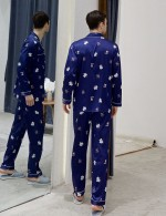 Perfection Maple Leaf Dark Blue Male Button Pocket Pajama Fashion Online