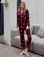Pure Button Down Wine Red Pocket Lapel Neck Sleepwear Set Soft Touch
