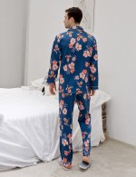 Light Blue Button Down Floral Long Sleeve Men Pajama Cheap Wholesale