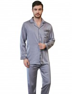 Flashy Light Purple Button Male Lapel Neck 2 Pcs Sleepwear Pocket Affordable