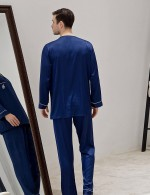 Flirty Sapphire Blue Male Pocket V Neck 2 Pcs Sleepwear Print Modern