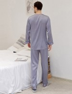 Comely Light Purple V Neck Male Print Sleepwear Set Pocket Distinguished