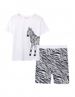 Zebra Print Pocket Side Nightwear Set Male Allover Loose Fitted