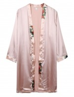 Wholesale Long Sleeve Apricot Faux Silk Belt Nightgown Male Classic Fit