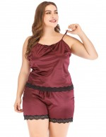 Surprising Wine Red Faux Silk Big Size Lace Bow Tie Sleepwear Set