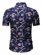 Colorful Blue Short Sleeve Print Button Men Shirt Big Size