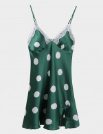 Attractive Green Lace Sling Slit Silk V Neck Sleepwear Dot Comfort