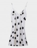 White Silk Polka Dot Sling Lace Sleepwear Backless Best Materials