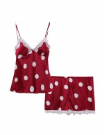 Fantasies Red Open Back Silk Polka Dot Sleepwear Set Lace Soft Touch