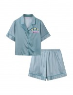 Supper Fashion Blue Diamond Button Down Sleepwear 2 Pcs Print Modern Fit