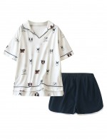 Romance Dark Blue Dog Pattern V Neck Short 2 Pcs Sleepwear Slit Super Comfort