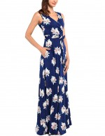 Super Faddish Floral V Neck Knot Pocket Plus Size Maxi Dress Glamor