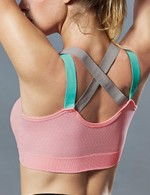 Light Pink Criss Cross U Neck Sport Bra Backless Forward Women