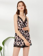 Particular Wrap Leopard Lace Trim V Neck Sleepwear Wholesale Inexpensive