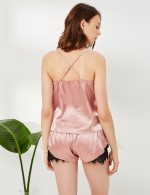 Seamless Pink Eyelash Lace Open Back Sling Sleepwear Set Undergarment