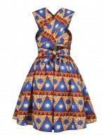 Slimming Bow Tie Ethnic Print Open Back Skater Dress Form Fit