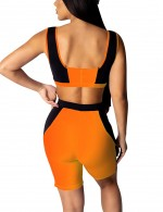 Orange High Waist Square Neck Sleeveless Cropped Suit Delightful Garment