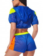 Fitting High Waist Blue Zip Short Sleeve Sweat Suit Best Materials