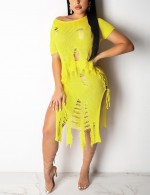 Spectacular Yellow Slit Side Plain Lace Up Skirt Suit Shred Ladies Fashion