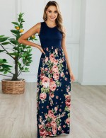 Charming Navy Blue Floral High Waist Sleeveless Maxi Dress High Quality