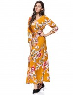 Bewitching Button Slit Long Sleeve Maxi Dress Floral Classic Dress