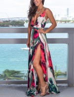 Lively Open Back Slit Sling V Neck Maxi Dress Twist Superior Comfort
