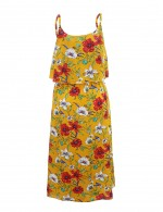 Illusion Yellow Empire Waist Square Neck Midi Dress Fashion Essential