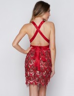 Red V Neck Backless Spangle Empire Waist Evening Dress Tailored Quality