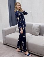 Well-Suited Dark Blue Pocket Print Button Pajama Lapel Neck Fashion Online