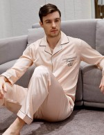 Bewitching Rose Gold Print Button Print Pocket Pajama Male Top Quality