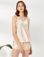 Fantasies Apricot Sling Crew Neck Backless Sleepwear Set Tie Simplicity