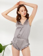 Seductive Light Grey Ruffle Trim Open Back V Collar Sleepwear Standard Fit