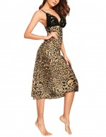 Princess Leopard V Neck Sling Bow Tie Chemises Backless Slim Fit