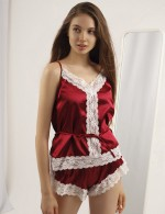 Sexy Wine Red V Neck Lace Patchwork Backless Sleepwear Set Comfort