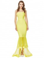 Naughty Yellow Bandeau Fishtail Hem Mesh Patchwork Bandage Dress