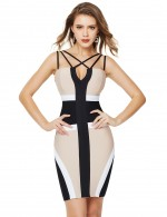 Lightweight Strappy Crisscross Color Block Bandage Dress For Holiday