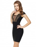 Fabulously Black Metallic Mesh Patchwork Bandage Dress Zip Fashion