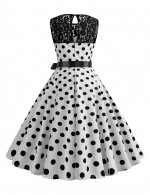 Elegance Hepburn Crew Neck Polka Dot Skater Dress Lace