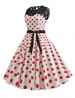 Kinetic Zip Back Hollow Bow Tie Lace Skater Dress Dot Essential