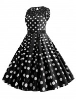 Fantastic Polka Dot Zip Crew Neck Bow Tie Skater Dress Lace Womens