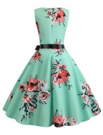 Fantastic Hepburn Sleeveless Print Flare Hem Skater Dress Online