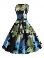 Women Sleeveless Print Bow Tie Zipper Skater Dress Womens Apparel