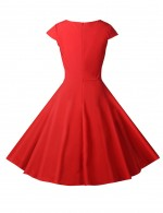 Particular Shirred Flare Hem Wrap Zipper Skater Dress V Neck Comfort
