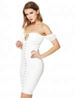 Fairy Zip Halter White Bandage Dress Lace Patchwork Hook Outfits