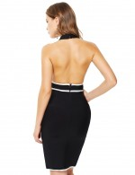 Black Contrast Piping Backless Halter Bandage Dress Zip Sexy Fashion