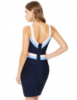 Blue V Neck Open Back Zip Contrast Color Bandage Dress Ultra Cheap