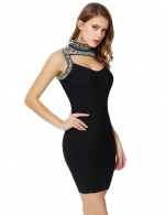 Well-Suited Rhinestone High Neck Black Cut Out Bandage Dress Hook