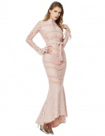 Shimmer Fishtail Apricot Waist Belt Lace Bandage Dress Buttons For Playing